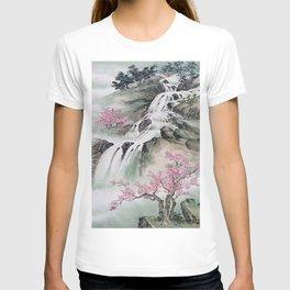 WATERFALLS AND MOUNTAIN LANDSCAPE T-shirt
