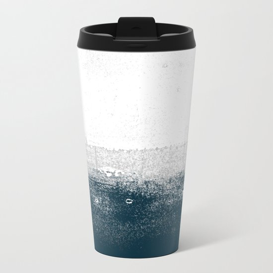 Ocean No. 1 - Minimal ocean sea ombre design  Metal Travel Mug