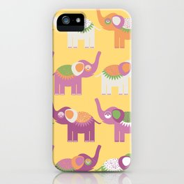 Cheerful pattern with elephants. Purple orange, green iPhone Case
