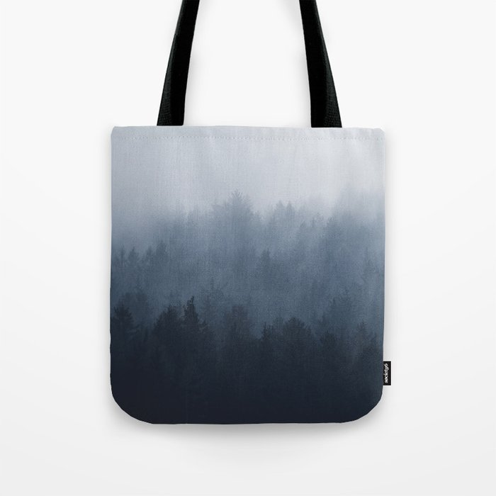 Fog in the forest Tote Bag
