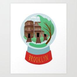 Brooklyn snow globe, souvenir, new york city, nyc, ny, brownstone Art Print
