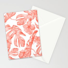 Tropical Hibiscus and Palm Leaves Dark Coral White Stationery Cards