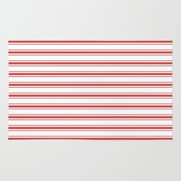 Mattress Ticking Wide Horizontal Striped Pattern in Red and White Rug