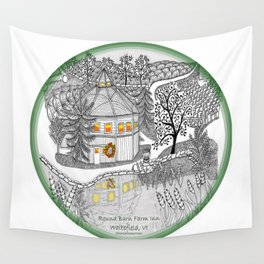 Round Barn Inn, Waitsfield, Vermont near Sugarbush- Zentangle illustration Wall Tapestry