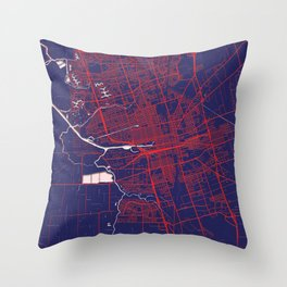 Stockton, CA, USA, Blue, White, City, Map Throw Pillow