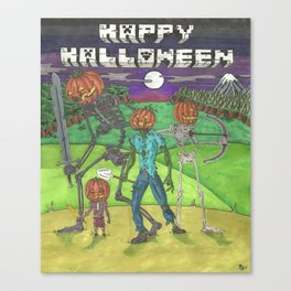 Halloween Mob Time - Mine craft Canvas Print