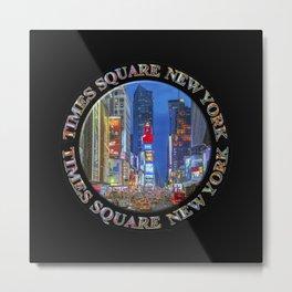 Times Square New York Badge Emblem (on black) Metal Print