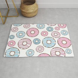 Pattern Of Donuts, Sprinkles, Icing - Pink Blue Rug