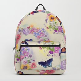 seamless  nature pattern with flowers,birds and butterflies Backpack