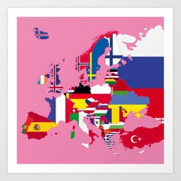 Europe flags pink Art Print