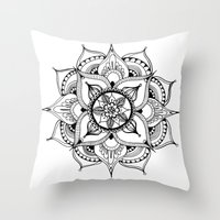 henna Throw Pillows featuring Henna Mandala by Ava Elise