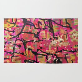 abstract gold and pink Rug