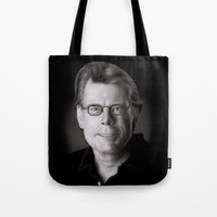 stephen king Tote Bags featuring Stephen King by Giampaolo Casarini