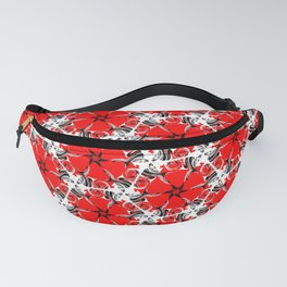 Red poppies floral geometric spring pattern Fanny Pack