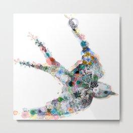 Sparrow White Metal Print