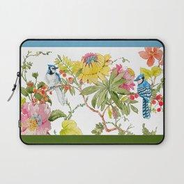 Bluejay Bird Day Floral Laptop Sleeve
