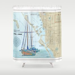 Sarasota and Siesta Key Nautical Area Map Shower Curtain