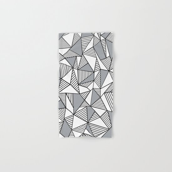 Abstract Lines With Grey Blocks Hand & Bath Towel