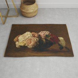 Henri Fantin-Latour - Roses in a Bowl Rug