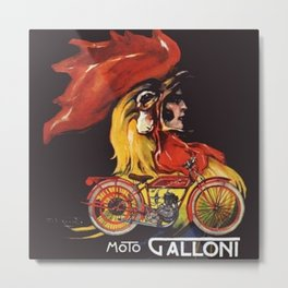 Moto Galloni Italian Vintage Motorcycle Poster Advertisement Metal Print