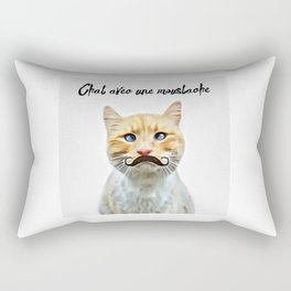 chat avec une moustache (Cat with a mustache in French) Rectangular Pillow