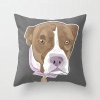 pitbull Throw Pillows featuring PITBULL by designrainey