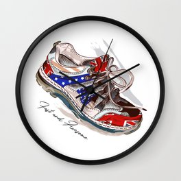 Fashion illustration with sport boots. Trendy design Wall Clock
