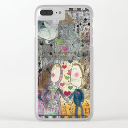 """Wedding"" Illustrated print Clear iPhone Case"