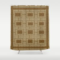rug Shower Curtains featuring Vintage Rug  by DesignsByMarly