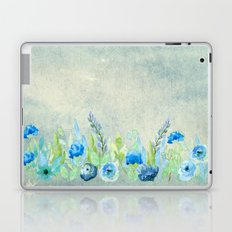Blue flowers in a meadow- Floral watercolor illustration Laptop & iPad Skin