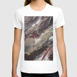 Neutral Black, Red and Brown Painting - Schism Abstract T-shirt