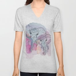 Elephant Animal Water Color Painting Unisex V-Neck