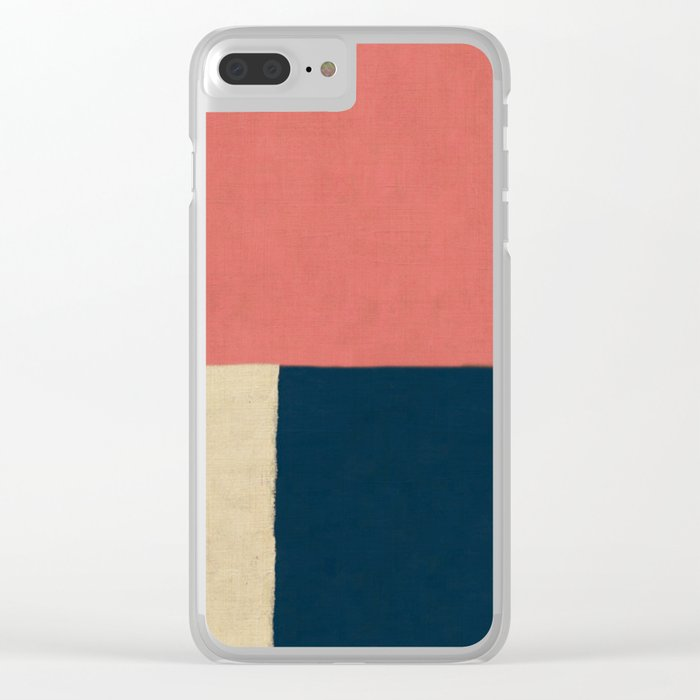 Salmon White Navy Blue Clear iPhone Case