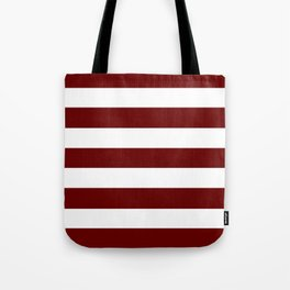 Blood red - solid color - white stripes pattern Tote Bag