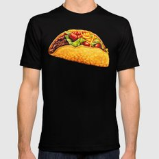 Taco Pattern Black X-LARGE Mens Fitted Tee