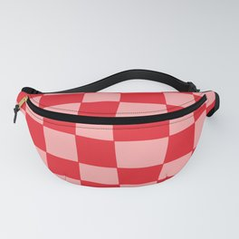 Hand Drawn Checkerboard Pattern (red/pink) Fanny Pack