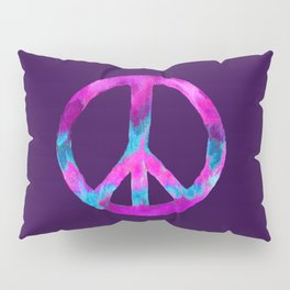Purple Turquoise Watercolor Tie Dye Peace Sign on Purple Pillow Sham