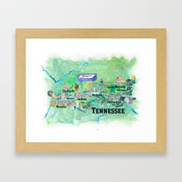 USA Tennessee State Travel Poster Map with Tourist Highlights Framed Art Print