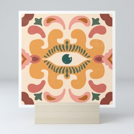 Terra-cotta Evil Eye Floor Tile Yellow Mini Art Print