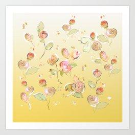 yellow tea rose buds Art Print