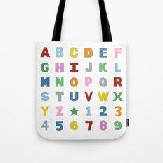 Alphabet on White Tote Bag