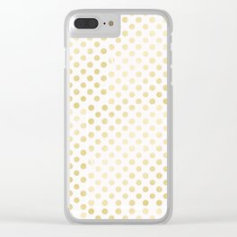 Vintage rustic faux gold white elegant polka dots pattern Clear iPhone Case