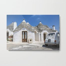 Classic Car Fiat 500 at Trulli Houses in Southern Italy Metal Print