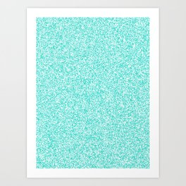 Spacey Melange - White and Turquoise Art Print