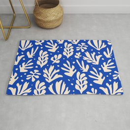 matisse pattern with leaves in blu Rug