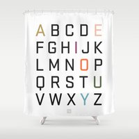 alphabet Shower Curtains featuring Alphabet by Tavia Lawrence