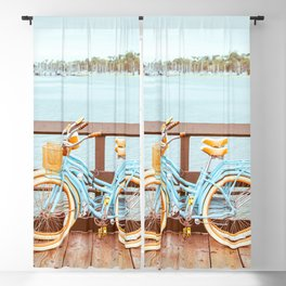 Two retro bicycles standing on Santa Barbara pier, California, USA. Vintage filter with muted teal blue and orange colors. Blackout Curtain