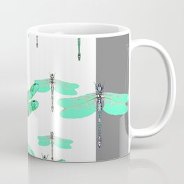 WHITE FLIGHT OF GREEN DRAGONFLIES GREY DESIGN Coffee Mug