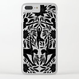 Yoga Girls Illustration with Lotus Flowers and Leaves // Black and White Clear iPhone Case