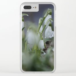 snow drop flowers with ice melting from them Clear iPhone Case